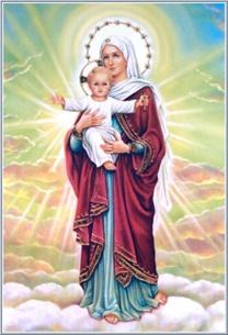 divina mãe com filho e estrelas